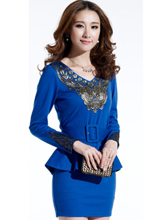 2014 Casual Hot Dress Floral Pattern Wrap Dress Fake Two Pieces Blue Bar Dress
