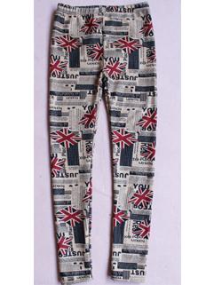 2014 New Coming Thicken Girls Legging Printed Red Flags Pattern Full Long Pants Mid Waist Skinny Leggings