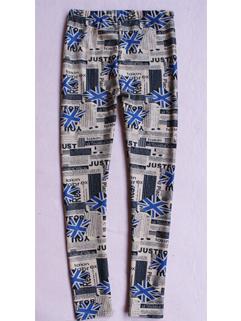 2014 Latest Thicken Girls Legging Printed Blue Flags Pattern Full Long Pants Mid Waist Skinny Leggings