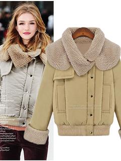 Fashion Hot 2014 Coats Color Block Fitted Long Sleeve Coats Woolen Pockets Short Coats