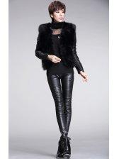2014 Euro Fashion Coats Pu Matching Fitted Long Sleeve Coats Motorcycle Style Coats
