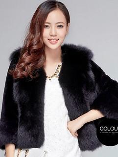 2014 Deluxe Women Short Coats Pure Color Fur Neck Cardigan Half Sleeve Faux Fur Black Coats
