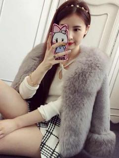 2014 High Quality Women Short Coats Pure Color Fur Neck Cardigan Half Sleeve Faux Fur Light Gray Coats