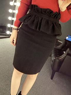 2014 Hot Selling Women Skirts Pure Color Empire Waist Regular Woolen Black Skirts