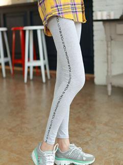 2014 Fashion Style Legging Full Long Pure Color Letter Pattern Mid Waist Skinny Light Gray Leggings