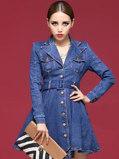 Street Style Denim Dress Pure Color Single-breasted Long Sleeve Lapel Regular Dress M L