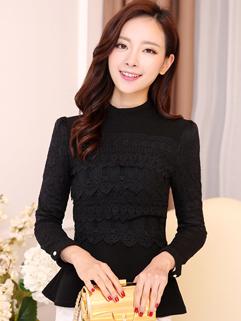 2014 Slim Cut Design Blouses Pure Color Lace Splicing Long Sleeve Stand Collar Black Blouses M-XL