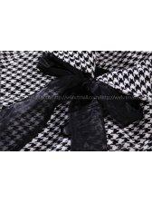 2014 Fashion Hot Coats Grid Pattern Loose Three-quarter Sleeve Coats Short Woolen Costs