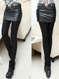 2014 Fashion Street Style Leggings Solid Color Fake Two Pieces Skinny Leggings Black Pu Matching Leggings