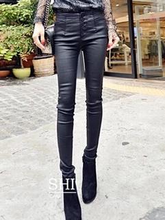 2014 Slim Cute Leggings Solid Color Skinny Long Add Wool Leggings Button Up Black Leggings