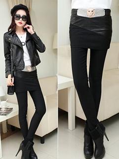 Hot Selling Korea Leggings Fake Two Pieces Skinny Long Leggings Black Add Wool Leggings