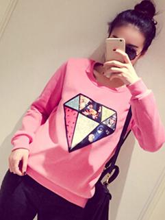 2014 Street Wear Hoodies Pure Color Printed Diamond Pattern Round Collar Long Sleeve Pink Hoodies
