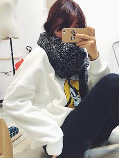 2014 Individual Design Hoodies Pure Color Cartoon Pattern Round Collar Long Sleeve White Hoodies