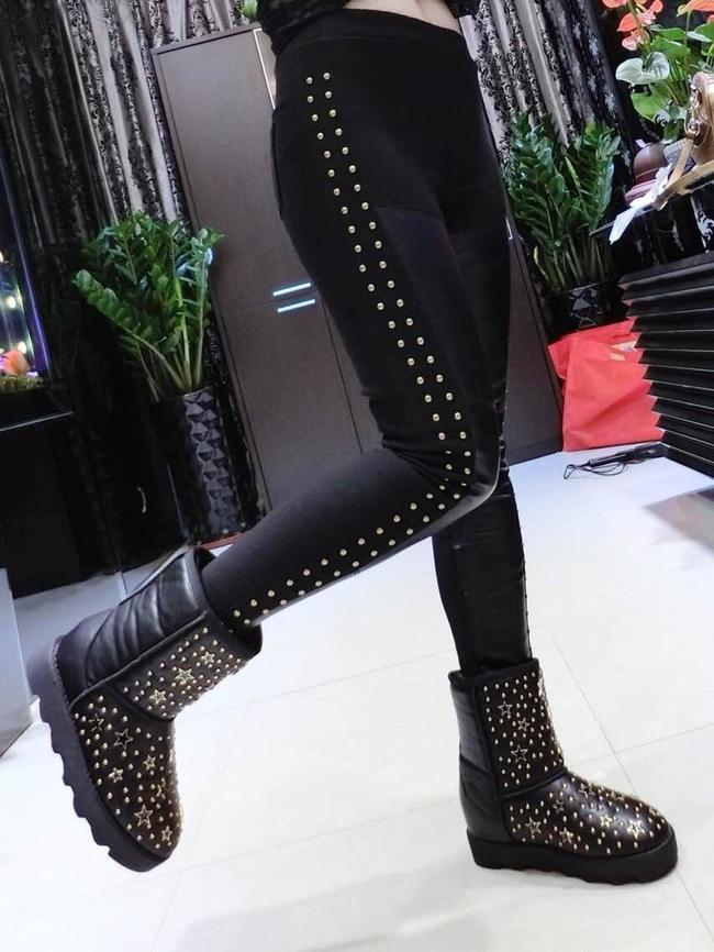 2014 European Fashion Skinny Girls Legging Pure Color Rivets Long Pants Mid Waist Black Leggings S-L