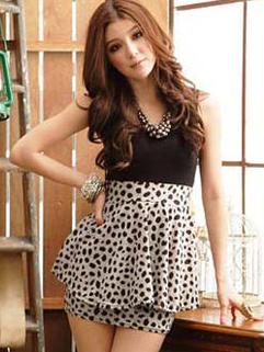 2014 Good Looking Slim Cut Women Sleeveless Dress Color Block Leopard Round Collar Short Dress