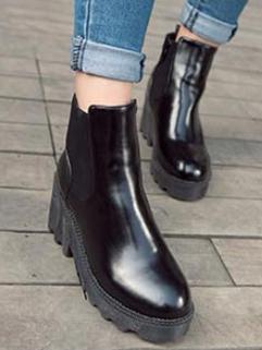Euro American New Fashion Cozy Black Color Round Toe Boot Chic Design Side Zipper Wedge Martin Boot Size 35-39