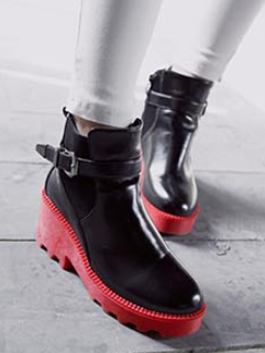 All Match Buckle-loop Side Zipper Punk Style Boot Cozy Red Color Wedge Round Toe Size 35-39 Martin Boot