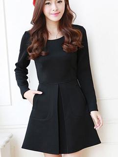 2014 Slim Wear High Quality Ruched Oversize Vertical Pocket Dress O Neck Pullover Cozy Black Color Dress