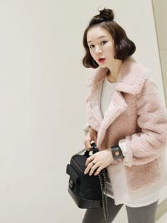 Korean 2 Size Cozy Pink Color Honey Girl All Match Coat Concealed Button Vertical Pocket Split Joint Lapel Short Coat