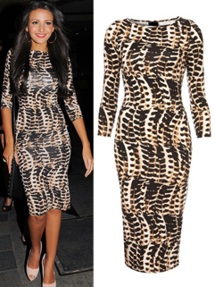2014 Hot Selling Dress Leopard Half Sleeve Fitted Dress Wrap Pencil Casual Dress