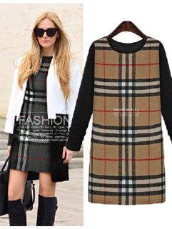 2014 New Arrival Dress Grid Pattern Long Sleeve Color Block Dress Street Style Woolen Dress