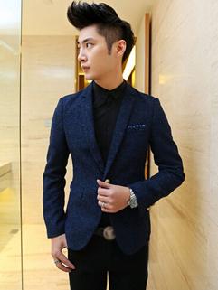 2014 British Revival Men Coats Pure Color Cardigan One Button Casual Lapel Blue Coats M-2XL