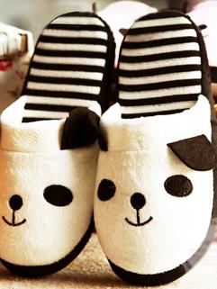 2014 Winter Soft High Quality Round Toe Slipper All Match Striped Flat Heel Cute Pattern Slipper