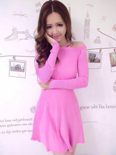 2014 Japanese Sweet Halter Sweater Dress Pure Color Slim Wear Long Sleeve Wholesale Pink Dress