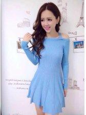 2014 New Arrival Halter Sweater Dress Pure Color Slim Wear Long Sleeve Wholesale Blue Dress