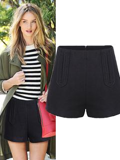 2014 Hot Selling Short Pants Pockets Zipper Solid Colors Pants Black Woolen Casual Pants