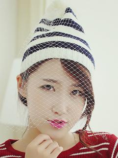 Winter Match Korean Panic Buying Woolen Striped Pattern Hot Gauze Split Joint Stylish Hat