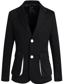 Korean Best Sale All Match Black White 2 Color Coat Lapel Slim Wear Front Flap Pocket Button Oversize Coat