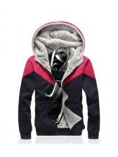 Korean Sport Fashion Men 4 Solid Color Active Wear Pockets Zip Up Hooded Add Wool Color Block Men Active Wear