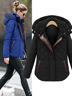 Stylish Thicken Detachable Cap Single-breasted and Zipper Women Short Coat Vertical pocket Coat Black/ Blue
