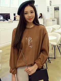 Korean Versatile Hoodies Pure Color Embroidery Dog Pattern Round Collar Long Sleeve Khaki Hoodies