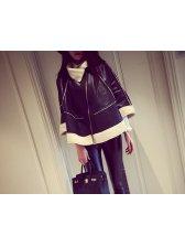 2014 Korean Street Motor Thicken Jackets Pure Color PU Long Sleeve Cardigan Lapel Black Jackets