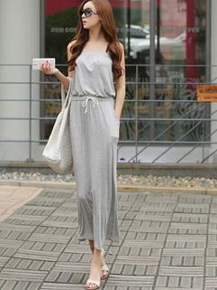 2014 Korean Summer Waist Pulling Ropes Long Dress Double Vertical Pockets Strapless Dress