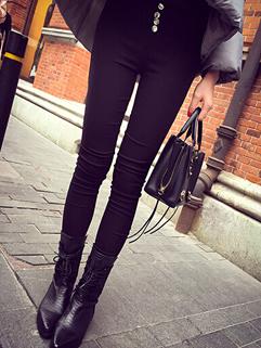 2014 Autumn New Skinny Thicken Legging Full Long Pure Color Buttons Empire Waist Black Leggings S-L