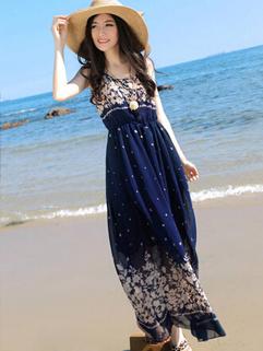 2014 Summer Beach Special Sleeveless Maxi Dress Color Block Floral Pattern Round Collar Chiffon Blue Maxi Dress