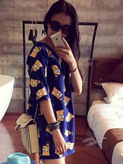 2014 Summer Korean Women Dress Pure Color Printed Pattern Half Sleeve Round Collar Dark Blue Dress