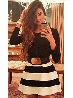 2014 Hot Selling Women Dress Color Block Stripe Pattern Long Sleeve Round Collar Dress S-XL