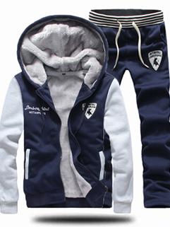 Korean Winter Math Cozy Navy Blue Color Long Sleeve Active Wear Zip Up Hooded Pocket Add Wool Sport Active Wear
