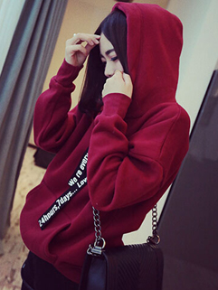 2014 Versatile Style Women Hoodies Pure Color Letter Draw Cords Hooded Long Sleeve Wine Red Thicken Hoodies