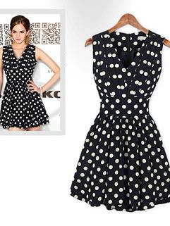 Fashion European Style Dress Dot Pattern Sleeveless V-Neck Dress Chiffon Street Style Dress