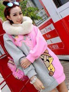 2014 Fashion Design Hoodies Color Block Cartoon Pattern Round Collar Long Sleeve Hoodies