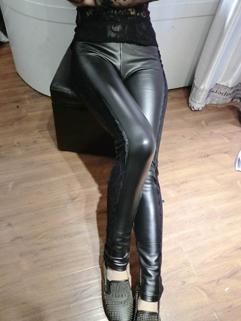 2014 Winter Leggings For Women Pure Color Lace Splicing Ninth Pants Skinny 3 Colors PU Leggings M L