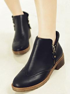 Korean Preppy Style Stylish Round Toe Chunky Heel Martin Boot Cozy Black Color Side Zipper Size 35-39 Boot