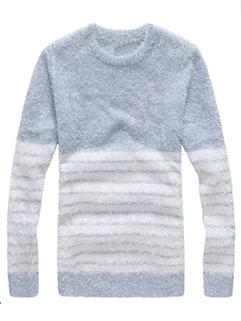 Men Korean Latest Design 2 Color Pullover Sweater Oversize Split Joint Striped Pattern Fresh Wholesale Sweater