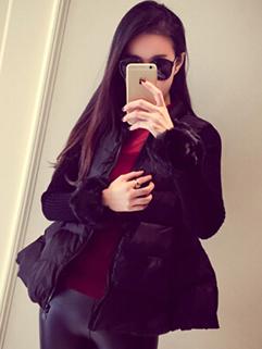 2014 Korean Cozy Thicken Short Coats Pure Color Zip Up Stand Collar Long Sleeve Black Splicing Coats M L