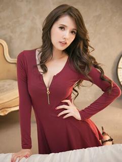 Women All Match Cozy Wine Red Color One Size Smart Waist Dress Zip Up Ruffle Slim Wear Sexy Brand Dress